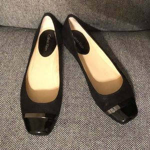 Calvin Klein Black Leather Pash Flats CK 9
